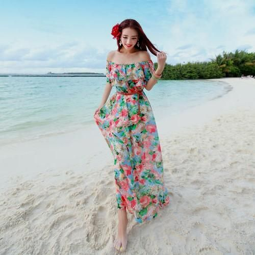 beautiful floral beach long dress