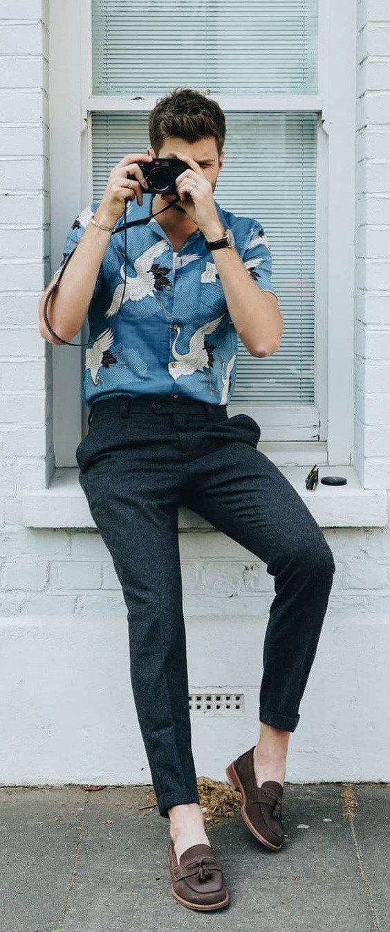 casual flamingo summer shirt for guys