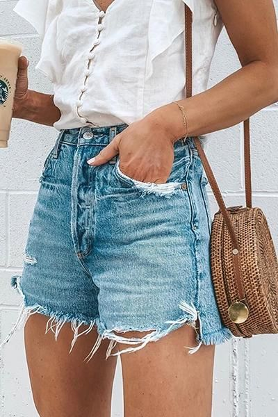 denim shorts for summer travel wardrobe