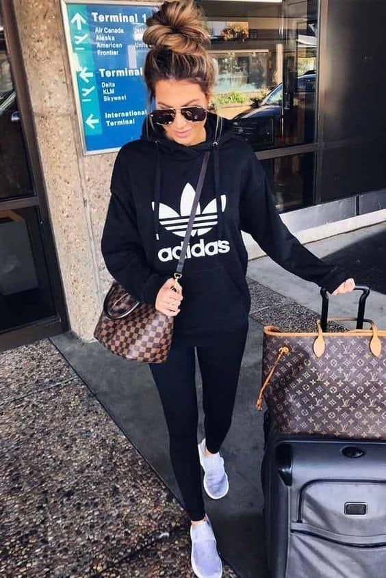 sporty airport travel look