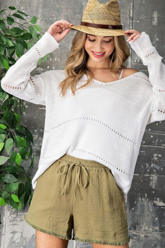 white knit sweater for summer night outfit style