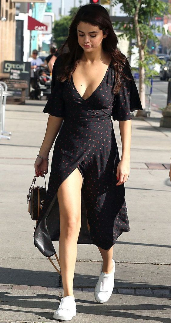 Selena Gomez floral wrap summer dress