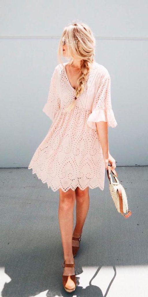 Chic lace guest wedding dress idea