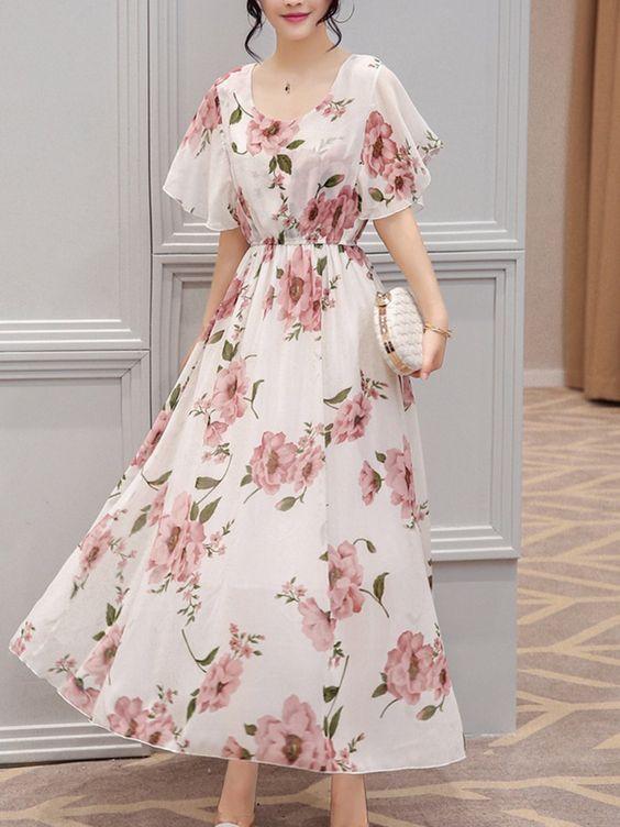 chiffon floral printed maxi dress wedding guest dress
