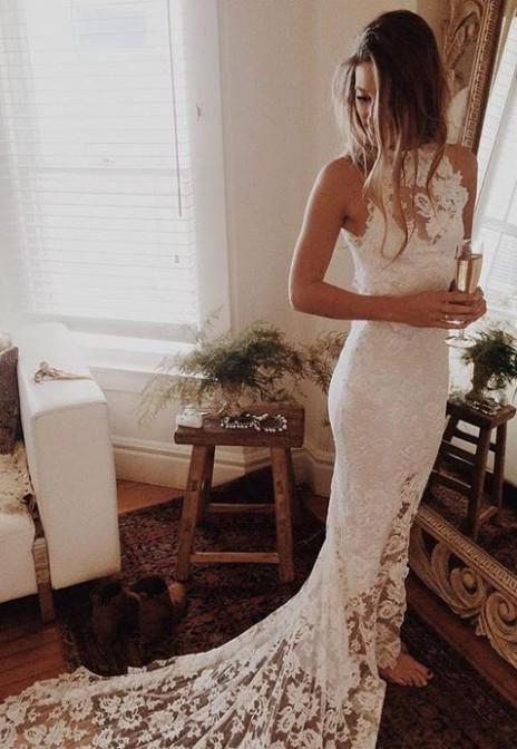 sheath or column wedding dress