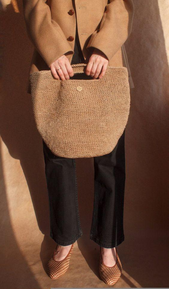 French style crochet jute bag