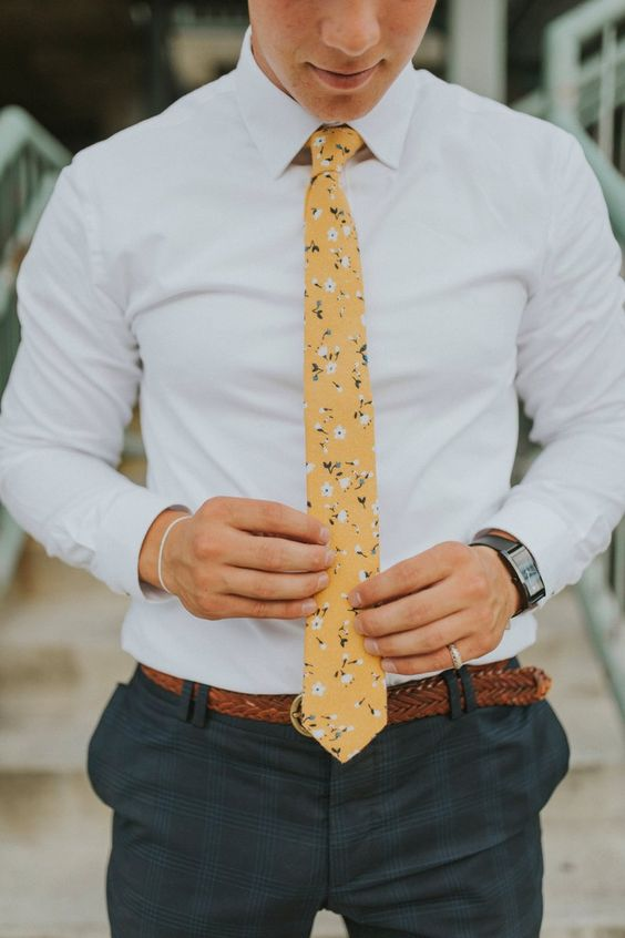 Floral tie accessory for summer wedding guest