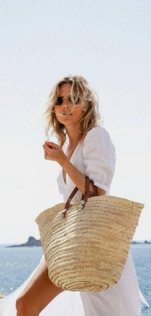 cute straw bag French girl style
