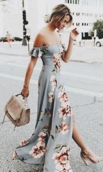 Floral printed mermaid dress for summer