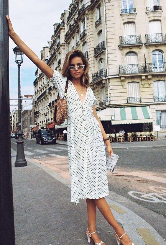 Parisian summer dress polka white dress