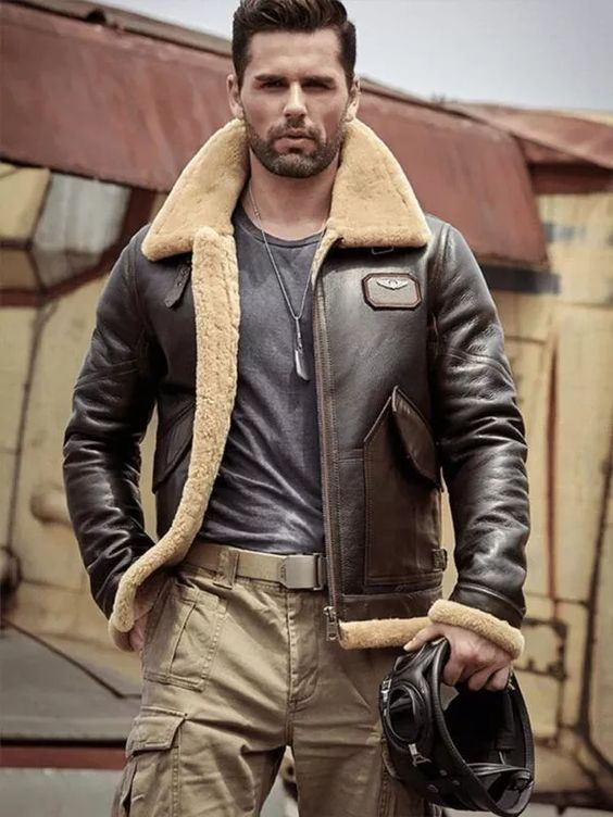shearling jacket for summer camp outfit idea