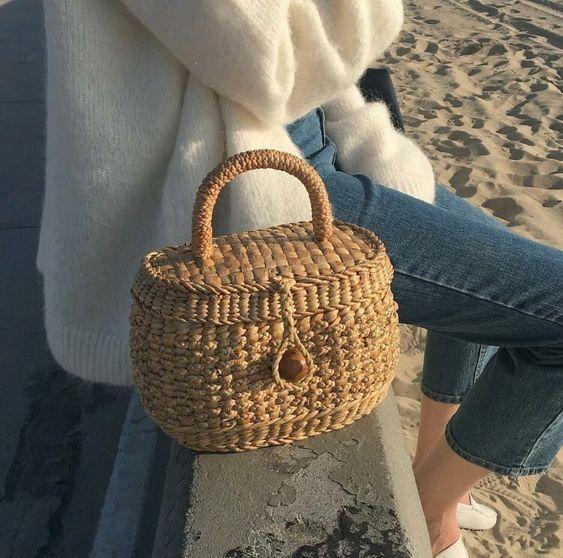 straw basket handbag French style