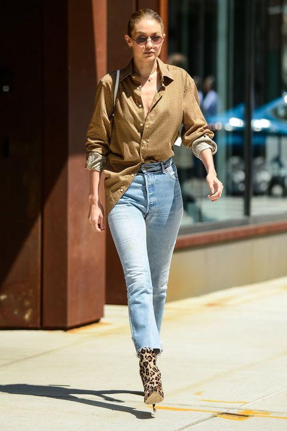 Gigi Hadid styling French tuck-in shirt