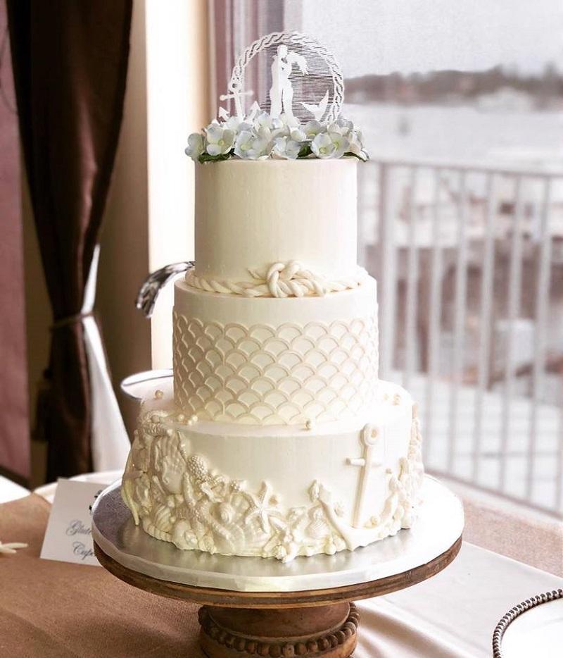 beautiful beach wedding cake decorations