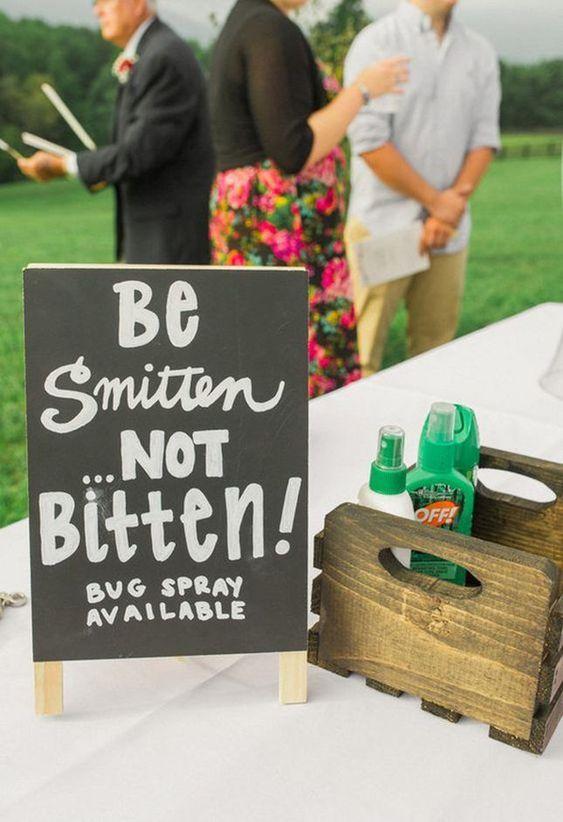 provide bug spray in the garden wedding theme
