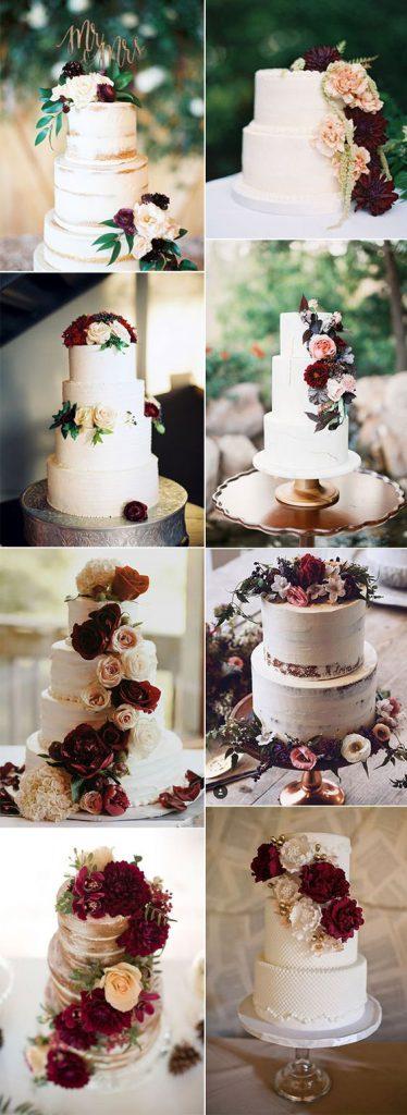 beach burgundy beach wedding cake