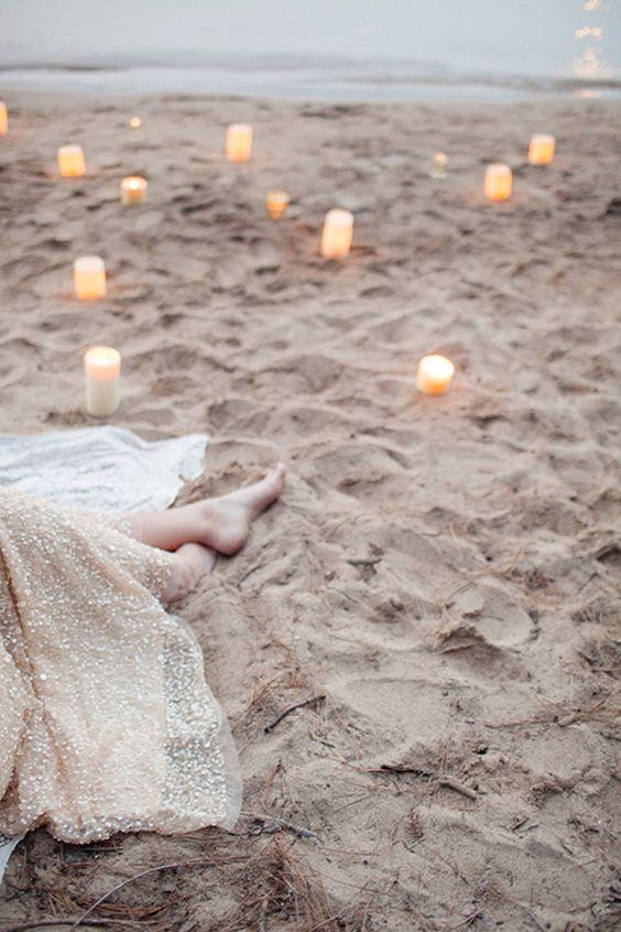 beautiful candle decoration on beach wedding