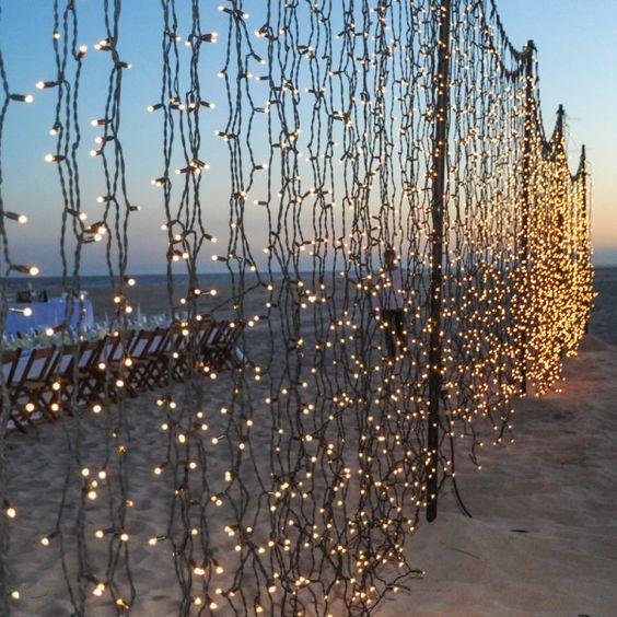 fairy lights at beach wedding decor