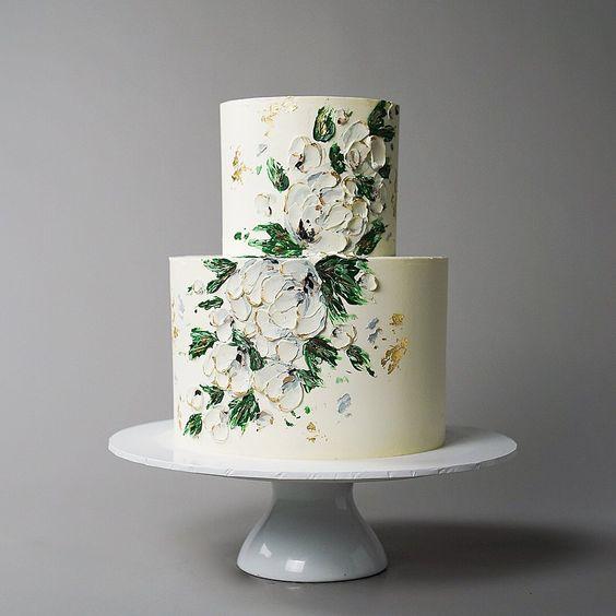 green-hued beach wedding cake