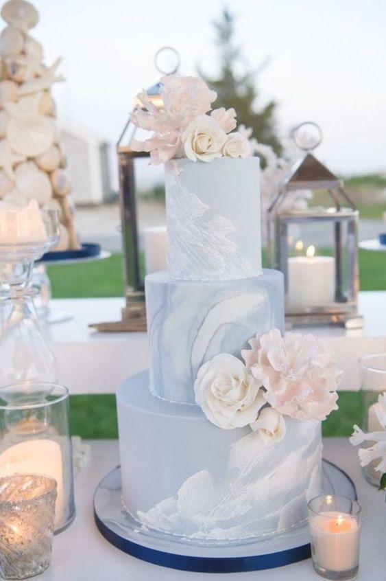 blue color shade nautical color themed wedding cake