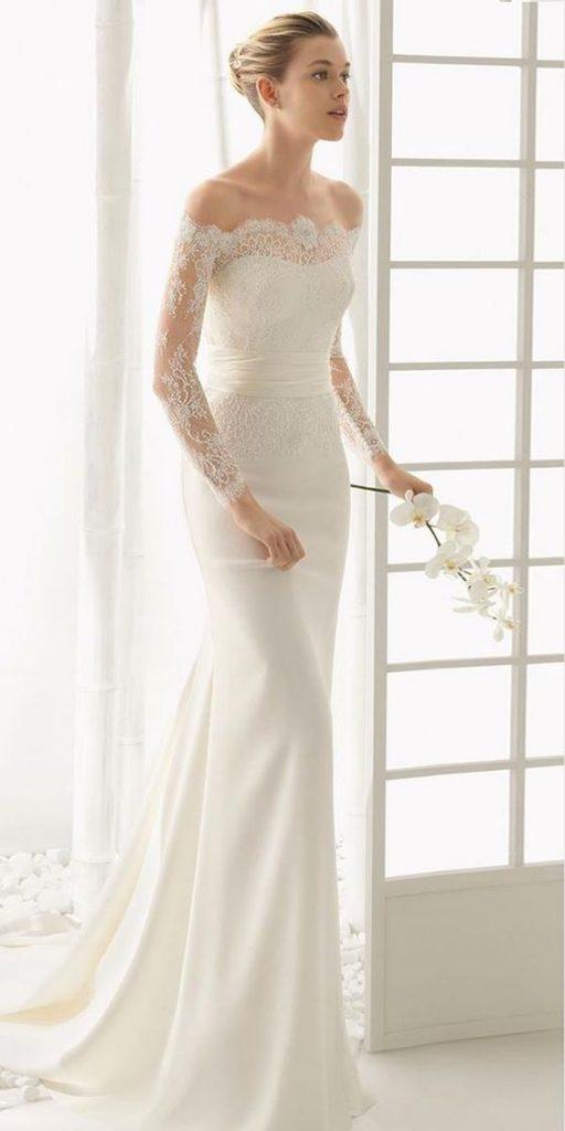 off-shoulder wedding dress