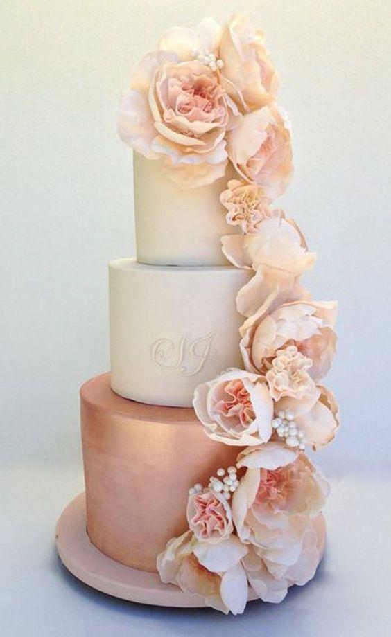 rose gold beach wedding cake design