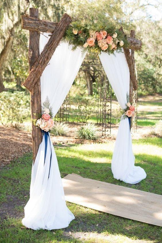 Rustic themed garden wedding decor