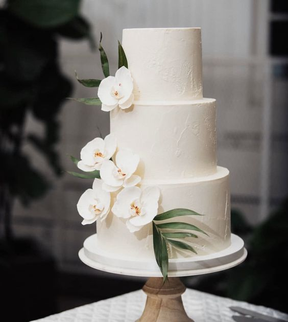 tropical white wedding cake
