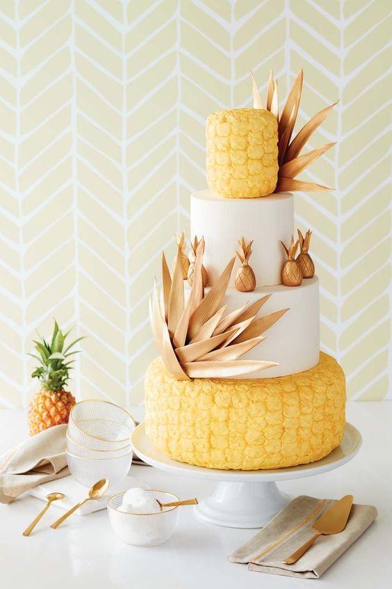 summer tropical fruit wedding cake decor